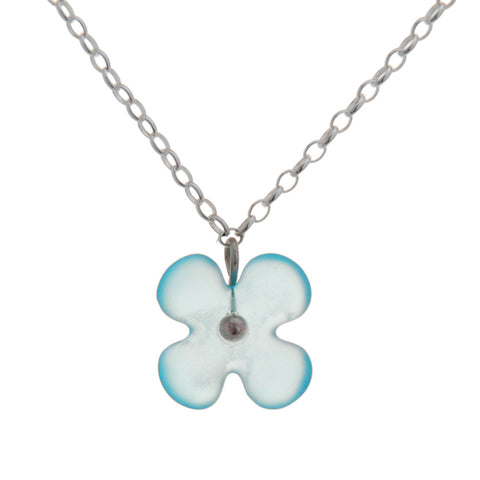 Recycled Glass Hydrangea Flower Pendant Bombay Blue