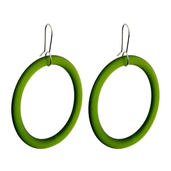 Large Hoop Earrings - Green