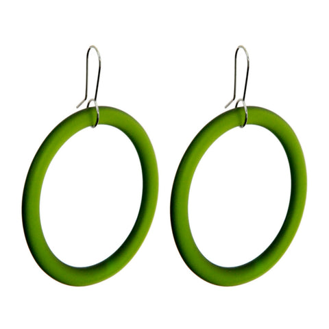 Large Hoop Recycled Green Glass Earrings