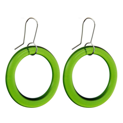 Medium Hoop Recycled Green Glass Earrings