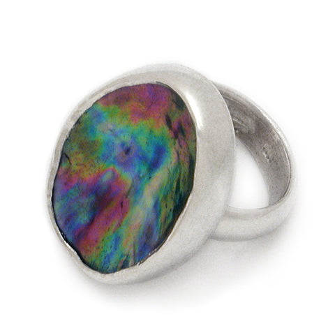 New Zealand Paua and Sterling Silver Ring
