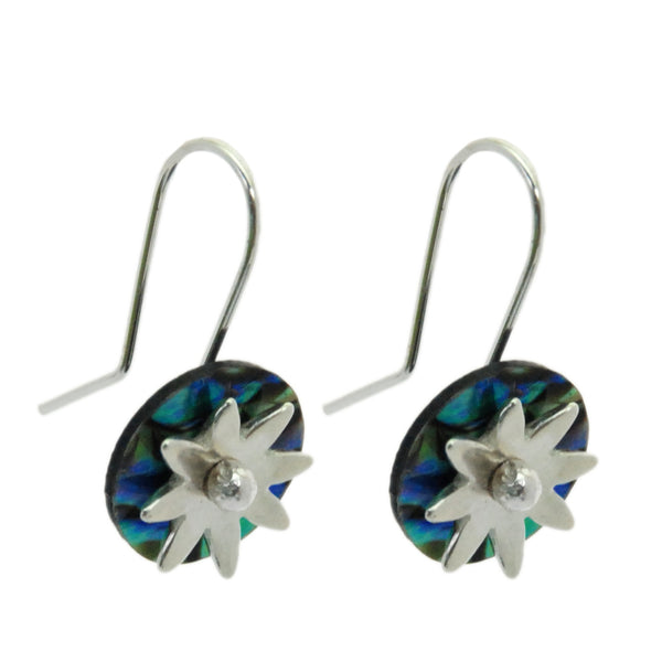 Daisy Paua Disc Earrings