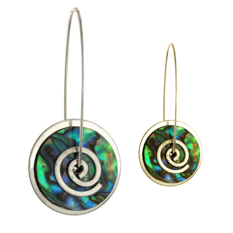 Silver Paua Spiral Disc Earrings