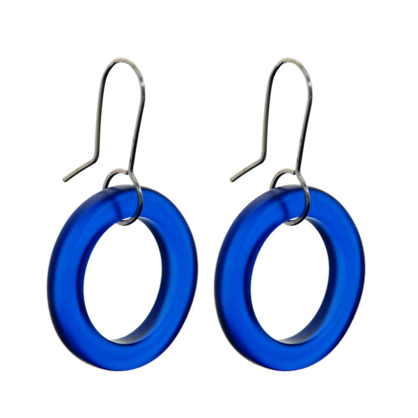 Small Hoop Earrings - Dark Blue