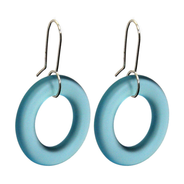 Small Hoop Earrings - Light Blue