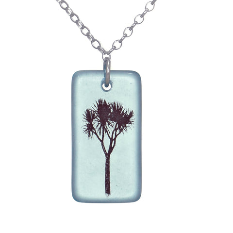 Glass Cabbage Tree Pendant - Light Blue