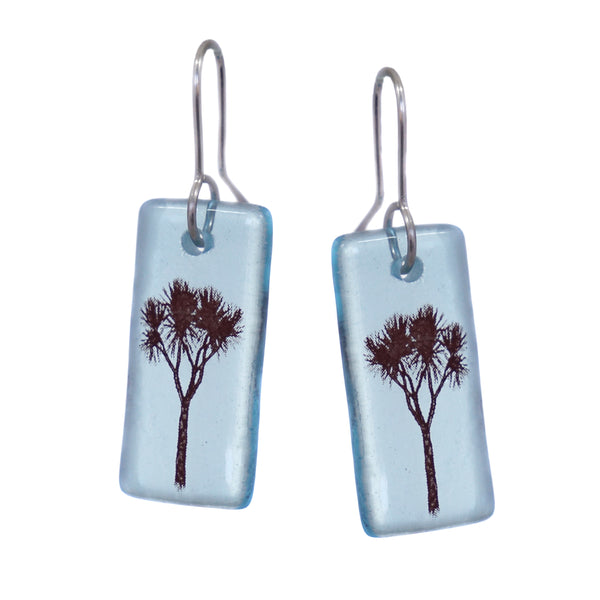 Glass Cabbage Tree Earrings - Light Blue