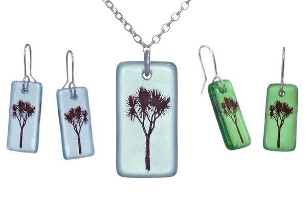 Glass Cabbage Tree Earrings and Pendant