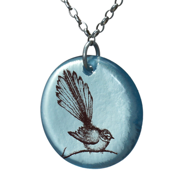Glass Fantail Disc Pendant - Two Colours Available
