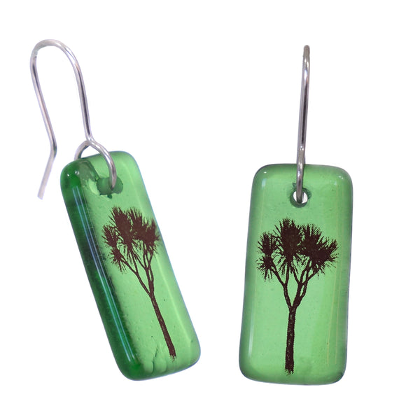 Glass Cabbage Tree Earrings - Green