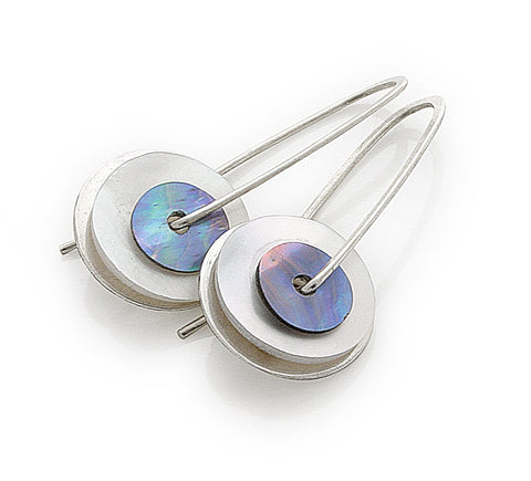 Mother of Pearl and Paua Drop Earrings