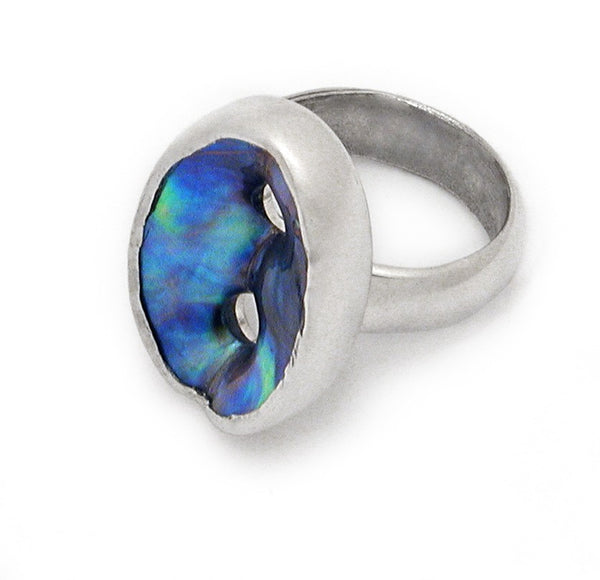 New Zealand Paua Hole and Sterling Silver Ring
