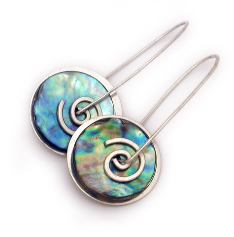 Silver Paua Spiral Drop Earrings Large