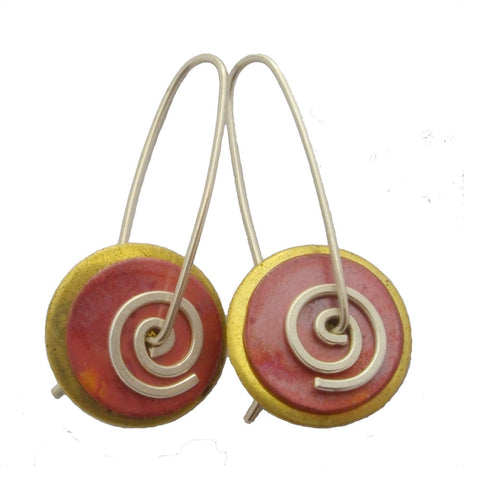 Brass Copper Spiral Drop Earrings