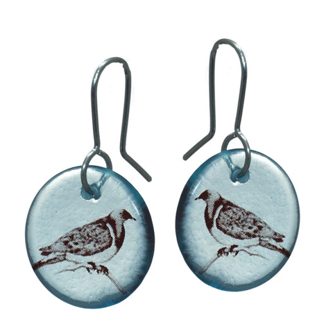 Glass Kereru Disc Earrings
