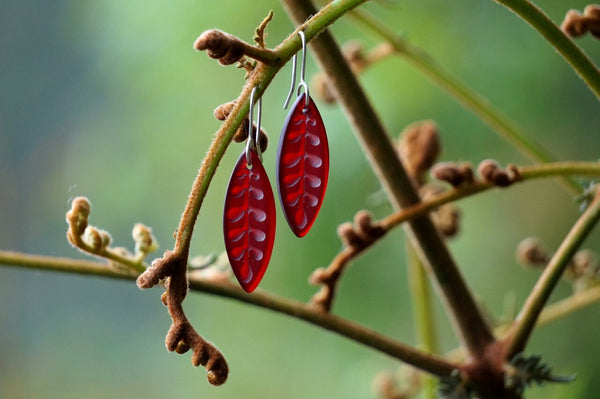 Kowhai Leaf Earrings - Red