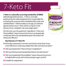 Load image into Gallery viewer, 7- keto fit product description 7-Keto® is shown to be three times more effective in weight loss than diet and exercise alone. It speeds up metabolism, improves lean body mass and builds muscle. It increases the activity of the immune system and is used to enhance memory and slow ageing. Contains Green Tea and niacin-bound chromium from ChromeMate®