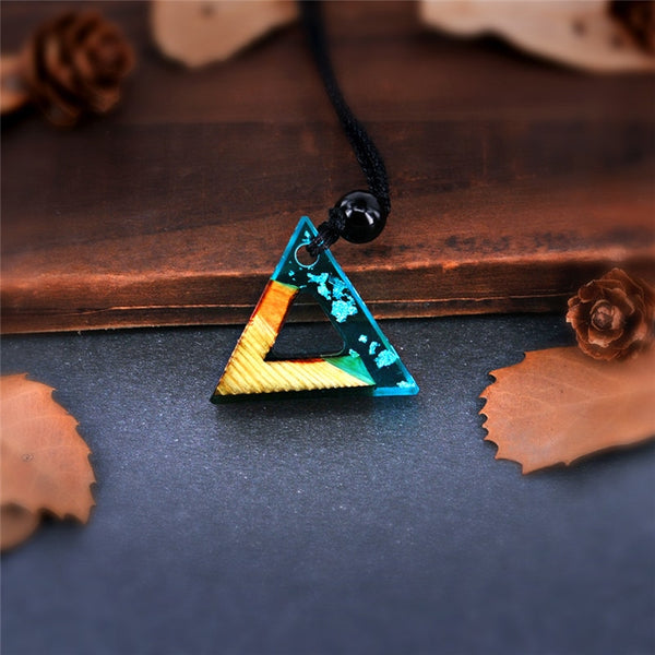 Handmade Triangle Wood Resin Blue Necklace