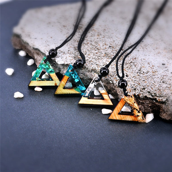 Handmade Triangle Wood Resin White Necklace