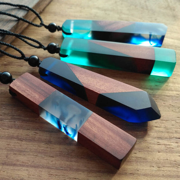 Unisex Wood Resin Necklace Pendant Rectangular
