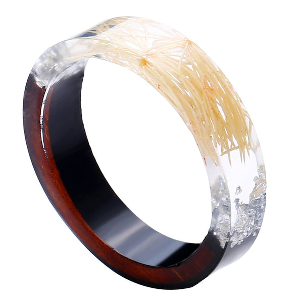 White Flower Natural Wood & Resin Rings for Women
