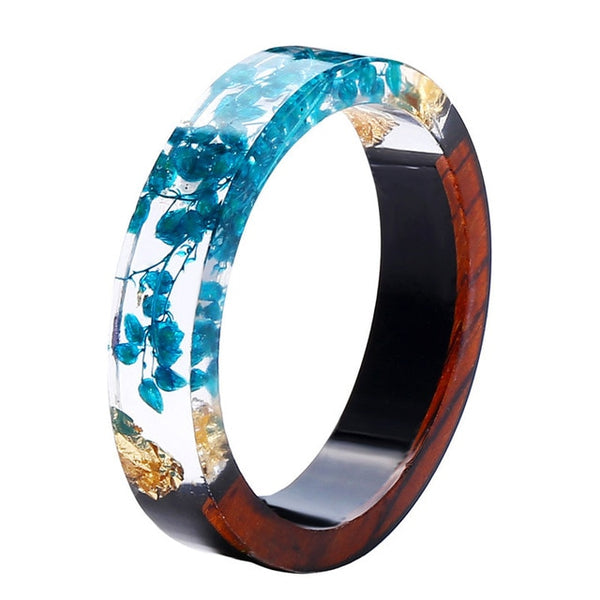 Blue Flower Natural Wood & Resin Rings for Women
