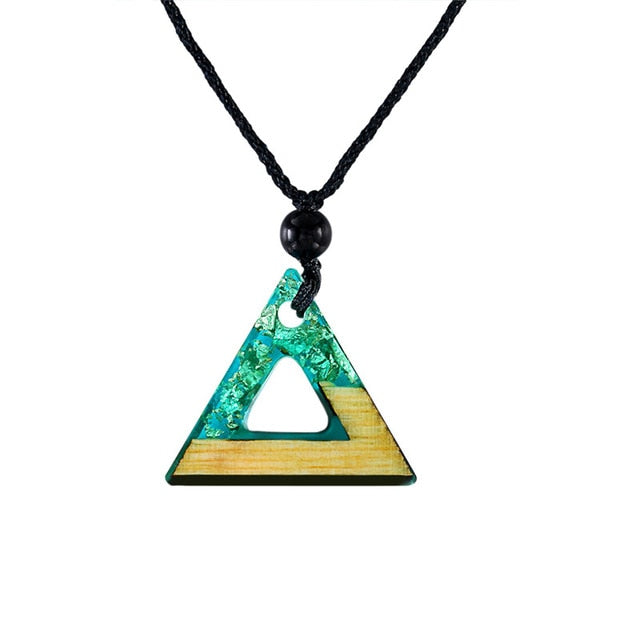 Handmade Triangle Wood Resin Green Necklace