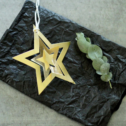 Metallic Paper Star Gold Set/6