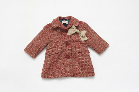 Red Tweed Dress Coat with Bow