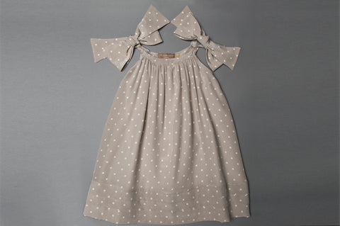 Tan Polka Dot Silk Dress With Bow