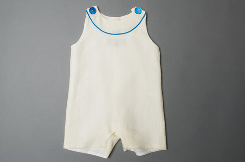 Cream and Turquoise Linen Onesie