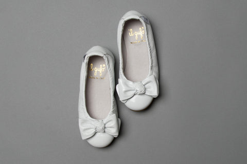 White Patent Leather Ballet Flats With Bow