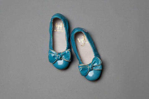 Sky Blue Patent Leather Ballet Flats With Bow