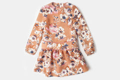 Peach Floral Printed Nancy Dress