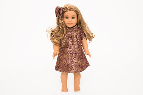 Burgundy Stella Doll Dress