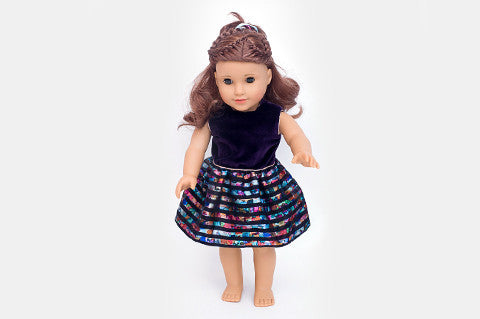 Purple Velvet Libby Doll Dress