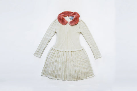 Cream Rachel Knit Dress Pink Faux Fur Collar
