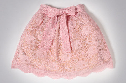 Pink Cyra Lace Skirt