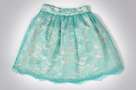 Turquoise Cyra Lace Skirt