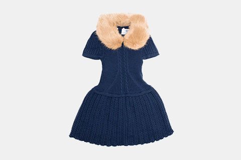 a5d0ba32b0415 Alexandra Navy Knit Dress