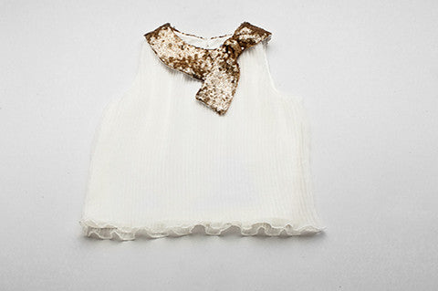 White Megan Top with Gold Sequin Collar