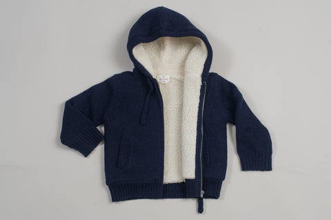 Navy Knitted Zip Up with Lambs Wool Lining