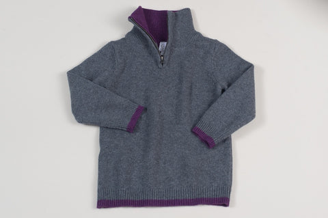 Grey and Purple Forain Zip Collar Sweater