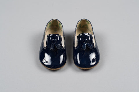 Navy Patent Leather Prince Tassel Baby Loafers