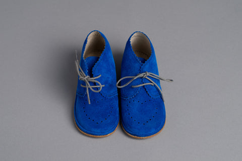 Electric Blue Suede Booties