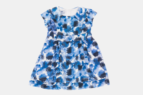Blue Printed Sabrina Dress