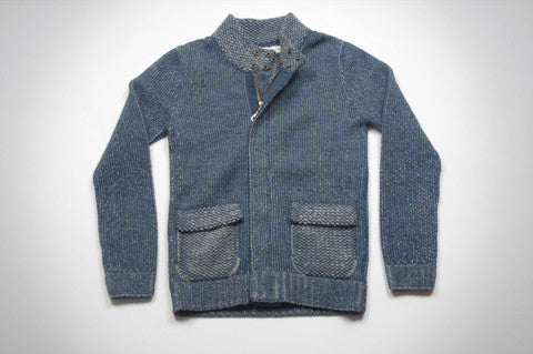 Blue Baby Alpaca Zip Sweater