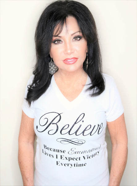 BELIEVE V-Neck T-Shirt Short Sleeve White