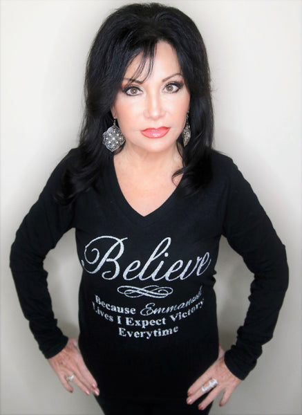 BELIEVE V-Neck T-Shirt Long Sleeve Black