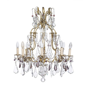 SOLD An exceptional amethyst and clear crystal gilt metal chandelier, Italian Circa 1950
